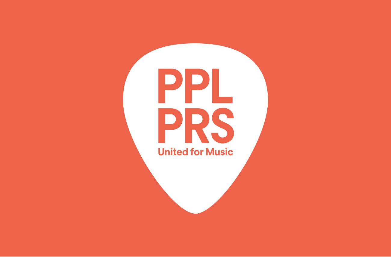 PPLPRS logo in white plectrum on orange background