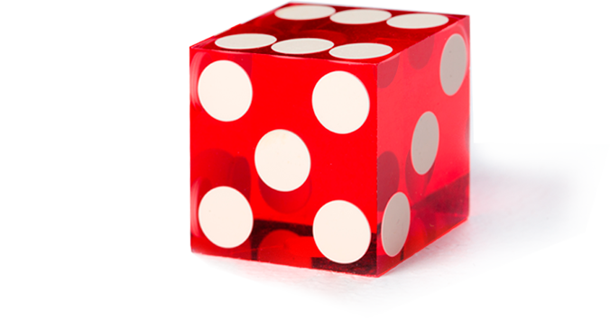 Red transparent plastic dice
