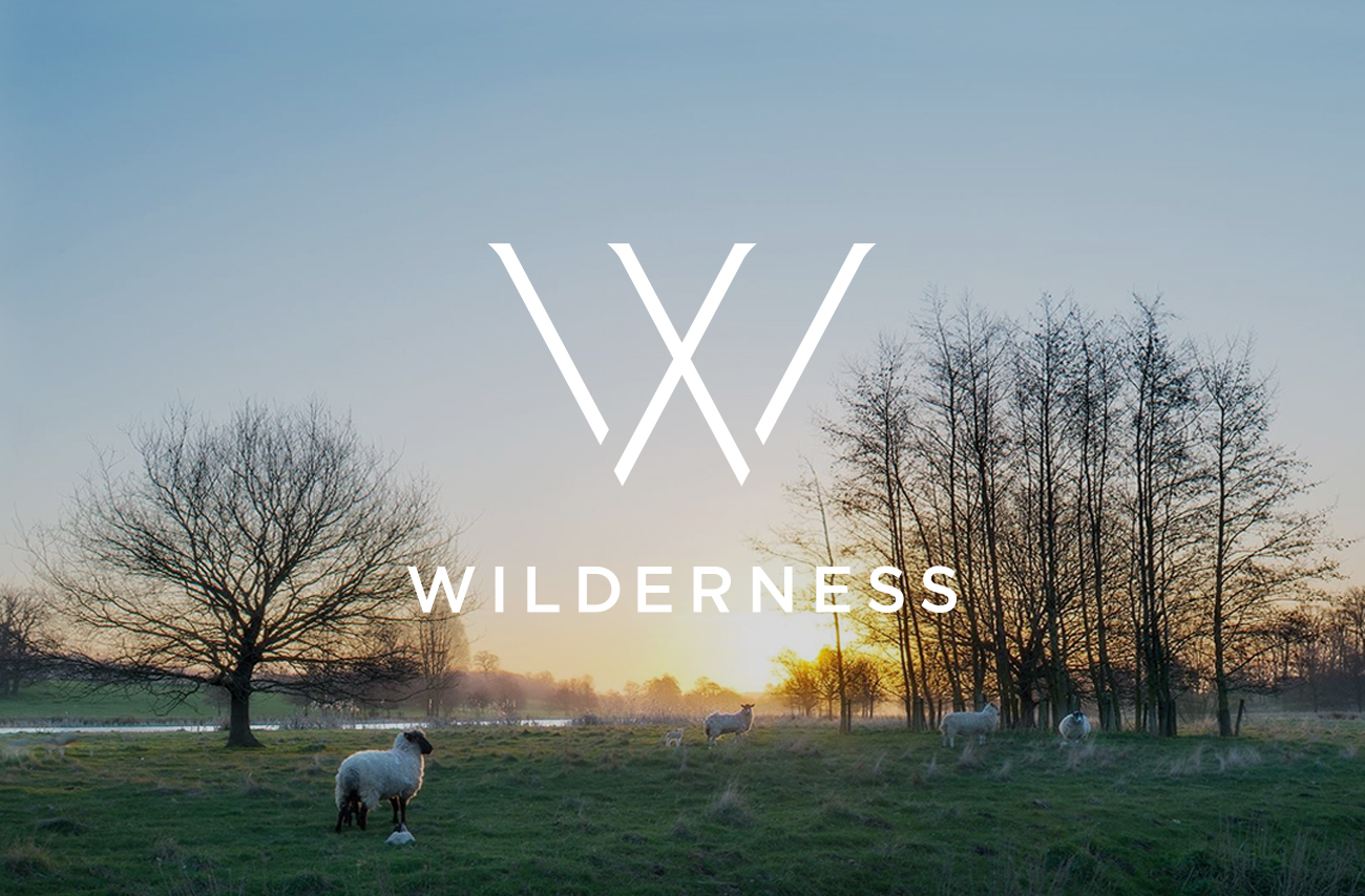Wilderness logo on photography of Suffolk landscape