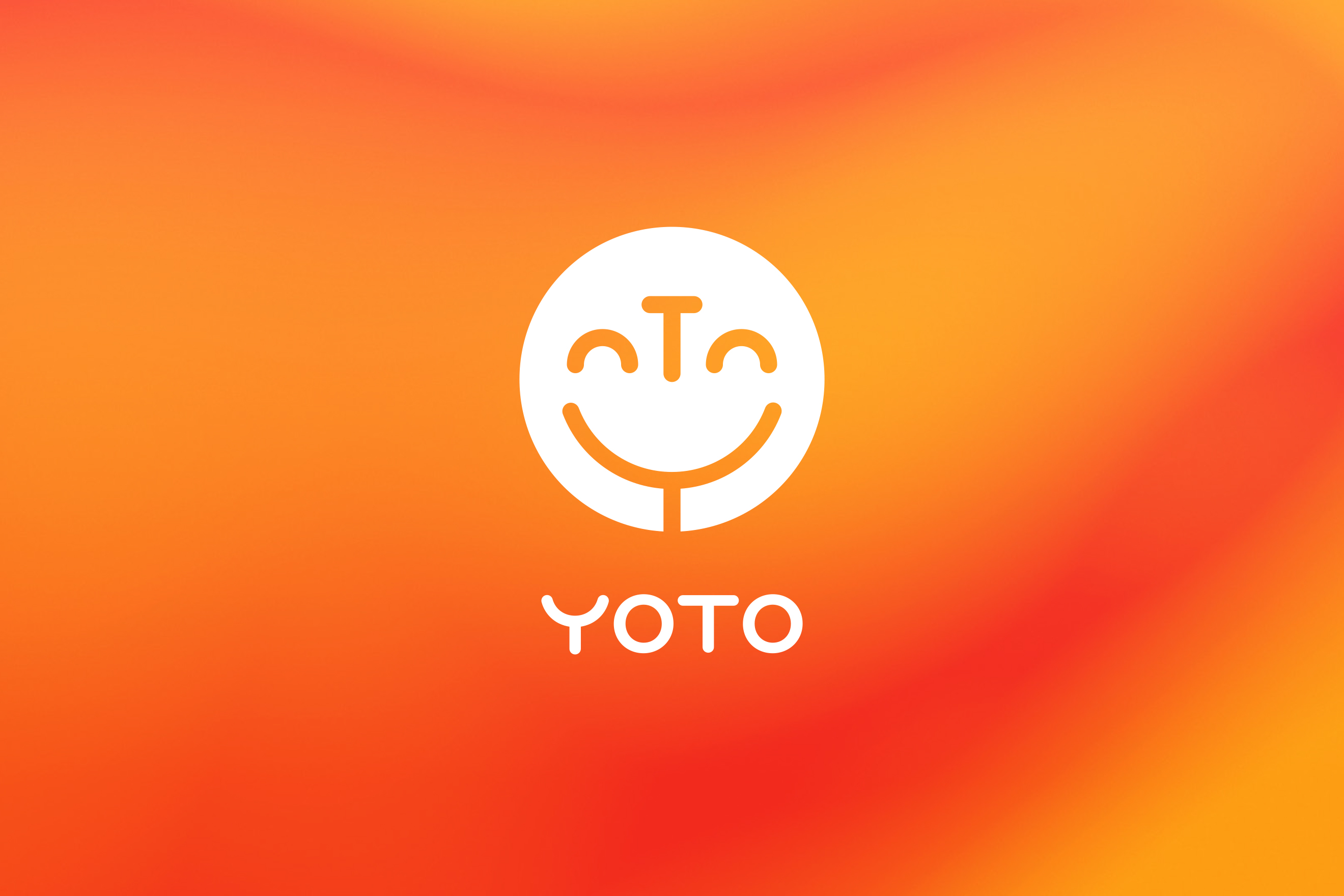 White Yoto logo on orange and yellow background