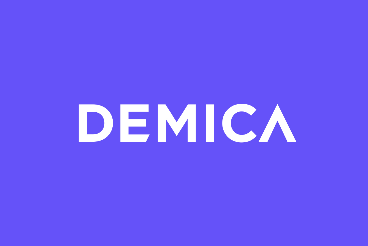 White Demica logo on purple background