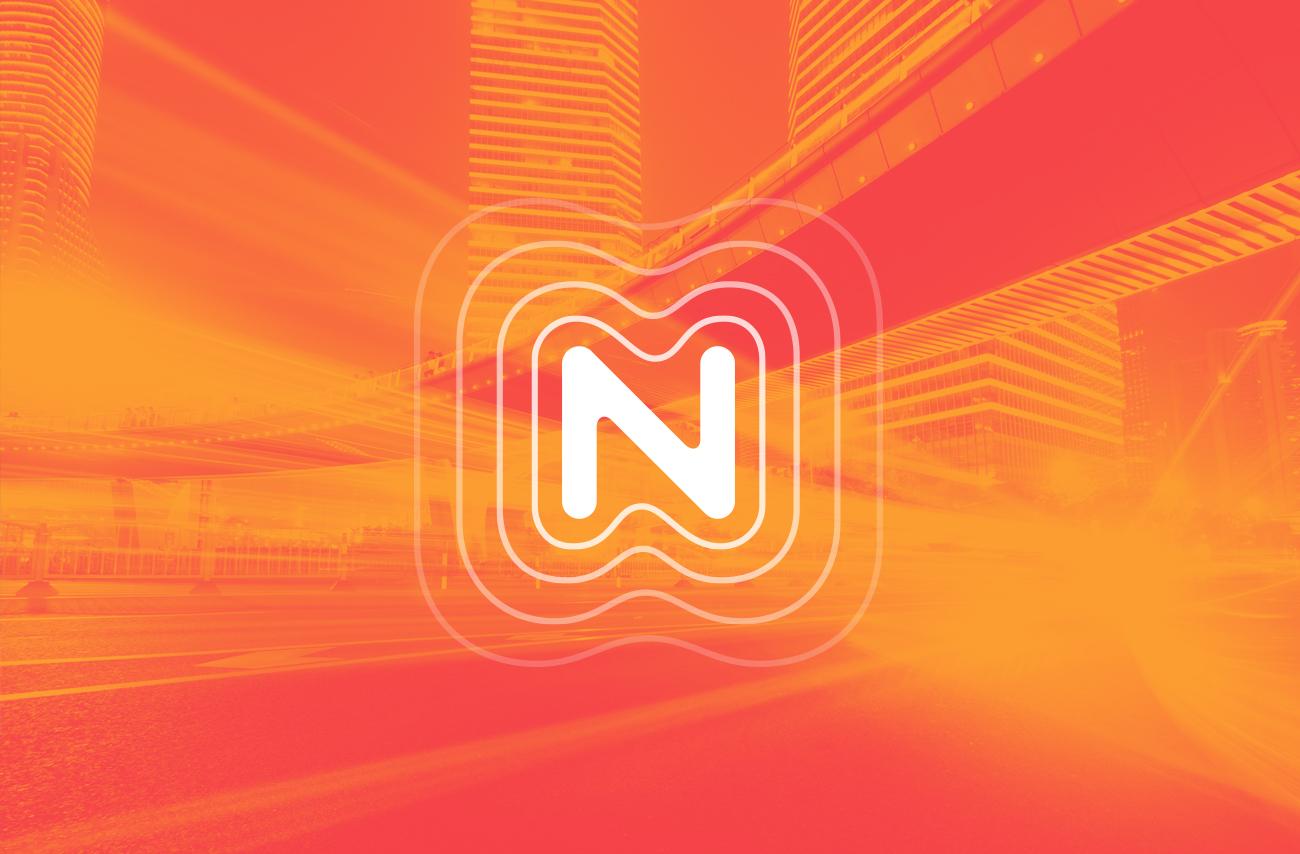 White logo on orange background