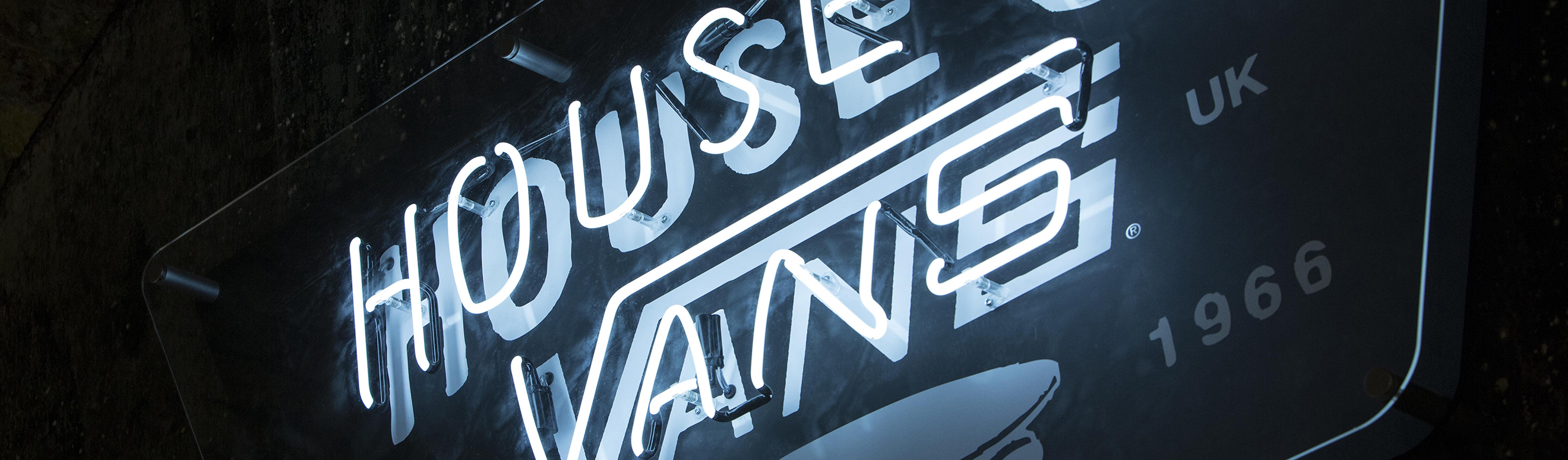House of Vans skateboarding neon signage