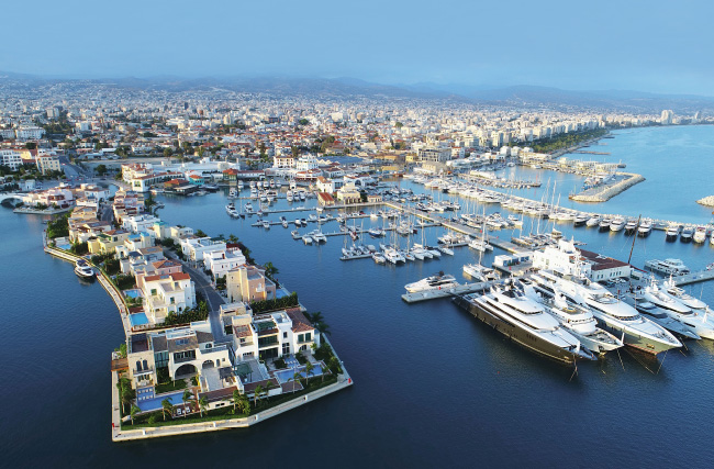 Birdseye view of a marina and properties